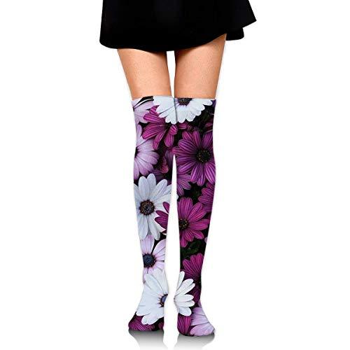 Kotdeqay Knee High Socken Purple Sunflower Long Socken Boot Stocking Compression Socken for Women - Purple Knee High Boots