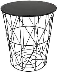 Design Beistelltisch schwarz - Metall Drahtkorb mit Sitzdeckel - Couchtisch Tisch Sofatisch