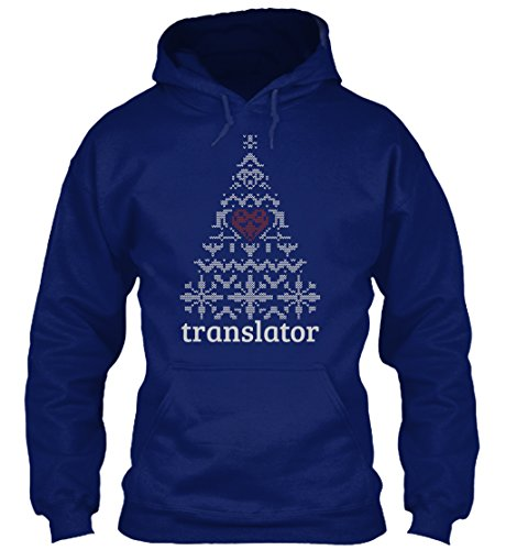 teespring Men's Novelty Slogan Hoodie - Translator Knitted Christmas Tree