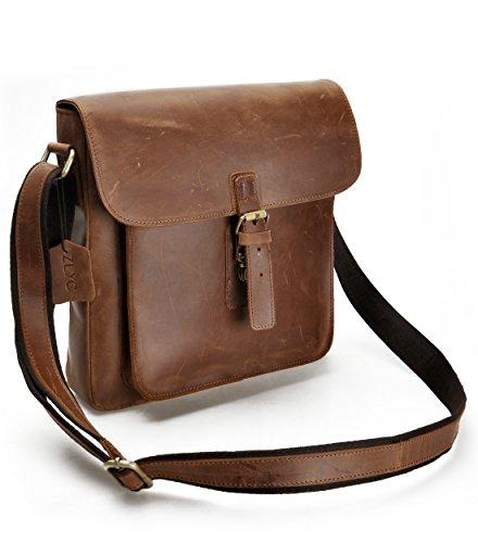ZLYC Sac à Hommes Rétro Vintage en cuir fait main organiseur sac à bandoulière pour iPad Air Marron Marron - Marron