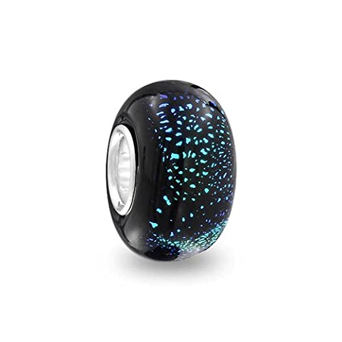 Bling Jewelry Navy Blue Glitter Murano glass Lampwork Round Bead Charm .925 Sterling Silver