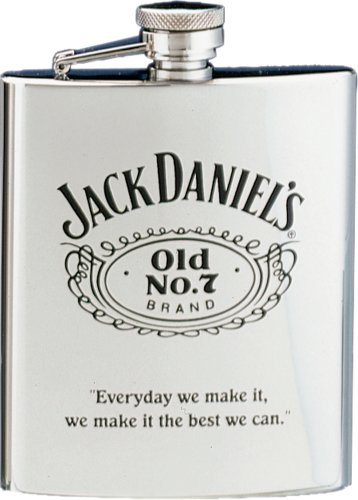 Jack Daniels Licenced Barware Stainless Steel Flask with Black Old No. 7