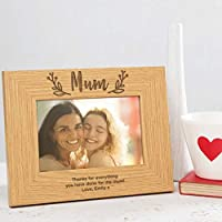 Mum Photo Frame Personalised Gifts for Mum - Mothers Day gifts from Daughter - Wooden Engraved Picture Frame Mum - 6x4 / 7x5 / 8x6 Size frames Available