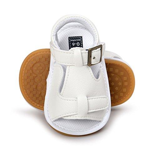 Luerme Babyschuhe Kleinkind Sandalen Rutschfest Weiche Sohle Schuhe PU Leder Wanderschuhe Krippeschuhe Sommerschuhe (6-12 Monate, Weiß) Weiß