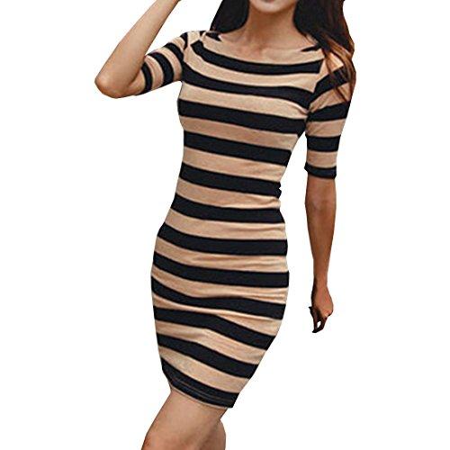 partiss Femme Été manches courtes slim fit robe à rayures Sexy Noir