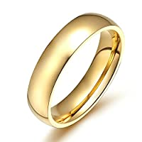 Onefeart Womens Stainless Steel Ring Mens Wedding Band,Smooth Design Gold 4MM Size J 1/2 Anniversary Gift