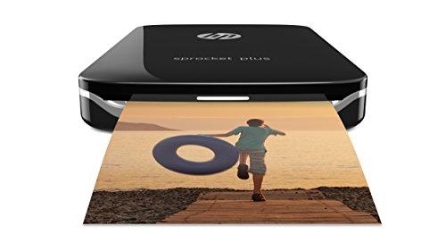 HP Sprocket Plus Mobiler Fotodrucker (Drucken ohne Tinte, Bluetooth, 5,8 x 8,7 cm Ausdrucke) schwarz