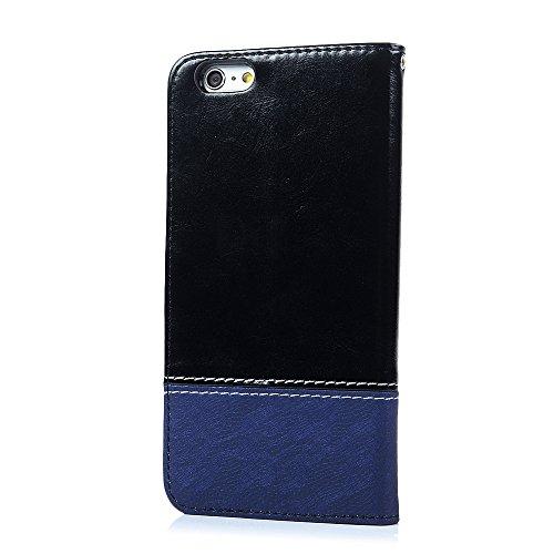 Mavis's Diary Coque iPhone 6 Plus / 6S Plus (5.5'') Étui Housse de Protection PU Cuir + TPU Silicone Intérieure Jointif Dessin Coloré en Cuir Gaufré Antirayure Antichoc Coque Capotage Support Wallet e Bleu + Noir