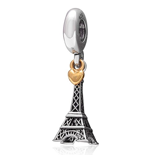 Landmark Hoobeads, in argento Sterling, pendente a forma di Torre Eiffel in stile europeo, con Charm