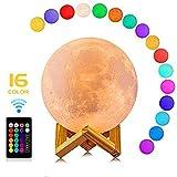 CougarEyes Mond Lampe 15 cm 16 Farben,3D Moon Lamp - LED Nachtlampe für wundervolle...