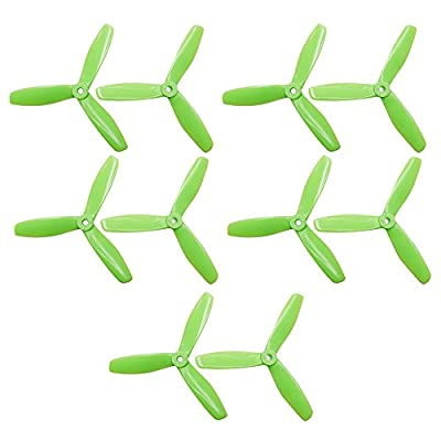 ARRIS 5 Pairs High Quality ABC+PC 5045 Bullnose Three Props Propeller CW&CCW (GREEN)