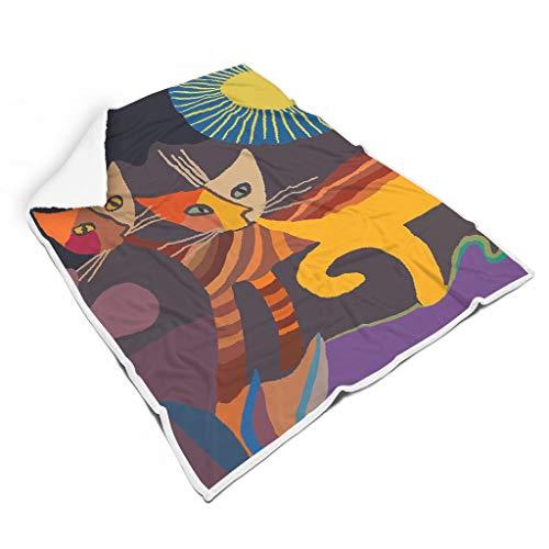 Ainiteey Tier Cat leicht Fleece Decke für Bett All Season Square Blankets für Baby Wunderschöner Stil White 150x200cm