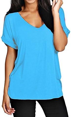 Damen Übergröße Fit V Ausschnitt Top Damen Baggy Übergröße Fledermausärmel Freizeit T-Shirt größen 8-24 - Türkis, Damen, XL
