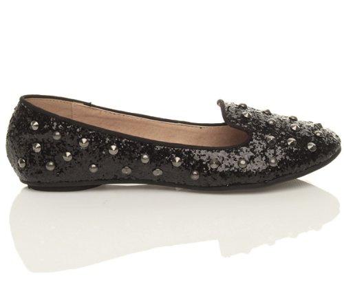 Femmes plat clouté chaussons mocassins flâneur ballerine chaussures pointure Noir paillettes