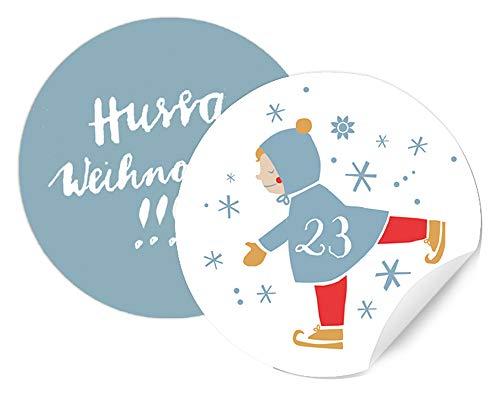 Adventskalenderzahlen für Kinder & Erwachsene - 24 runde Zahlen Etiketten MATT zum Adventskalender Basteln, Weiß Blau, selbstklebend, 40 mm, winterliches Schlittschuh Motiv