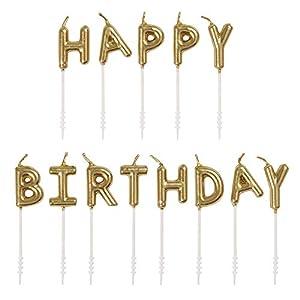 """Unique Party 19995 - Velas de cumpleaños (13 unidades), diseño con texto en inglés""""Happy Letter"""""""