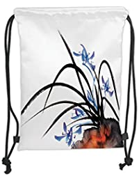 Drawstring Backpacks Bags,Asian Decor,Classic Asian Oriental Ink Painting of Orchid Artistic Design