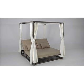 Bed balinesa Chill Out Aluminium Marron Upholstered Nautico Beige Zanzibar