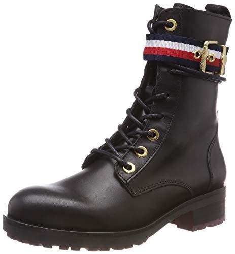 Tommy Hilfiger Damen Corporate Belt Biker Combat Boots, Schwarz (Black 990), 38 EU
