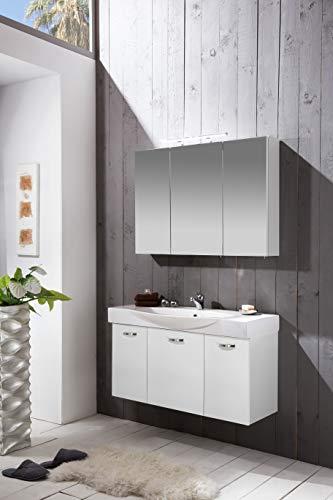 Schildmeyer Badmöbel-Set Paco 2-TLG, Spiegelschrank und Waschtisch inkl. Becken, Waschplatz 700724 weiß Glanz, 100 cm Breite, Holzdekor,