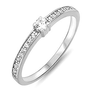 aion Ring Solitär 585er Gold Massiv Weißgold 14kt Damen Verlobungsring Gr 48 bis 62
