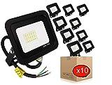 POPP® juegos de 5 y 10 Floodlight Led Foco Proyector Led 10w 20w 30w para Exterior Iluminación Decoración 6000k luz fria Impermeable IP65 Negro y Resistente al agua. (Focos 20 Watios, 10 unidad)