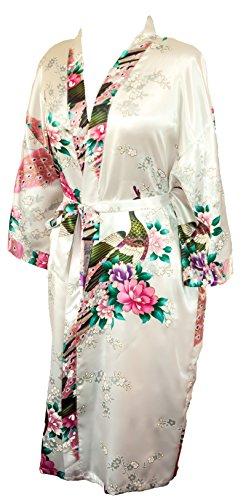 CCCollections Kimono motif paon et fleurs, 16 couleurs différentes, lingerie, nuisette, robe de chambre, demoiselle d'honneur, enterrement de vie de jeune fille Blanc (White)