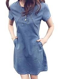 7fe42852d2 Zojuyozio Escuela De Verano Casual Mujer Vestidos De Turno Plus Tamaño  Vestido Vaquero