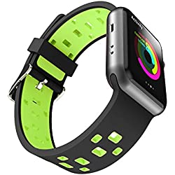 Chok Idea Band Compatible with Apple Watch Bracelet 42mm 44mm,Sport en Silicone Two-Tone Style Respirant Rremplacement for iWatch Apple Watch Series 4 3/2/1,Black-Green