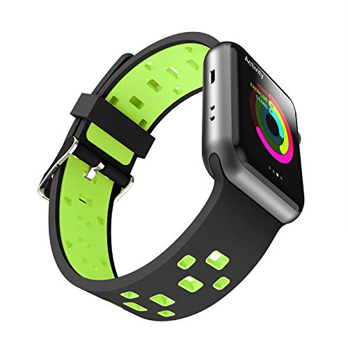 Chok Idea Strap Compatible with Apple Watch Armband 42mm 44mm,Atmungsaktiv Two-Tone Style Soft Silikon Sport Ersatzband Replacement for iWatch Series 4 3/2/1,Black-Green Apple Green Armband