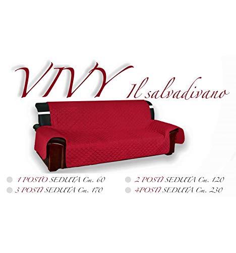 Tex family copridivano bx salvadivano vivy trapuntato piano liscio rosso-bordeaux - 1 posto seduta cm. 60