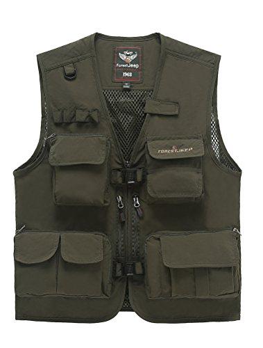 MatchLife Hommes Veste Sans Manches Gilet de Maille Respirant Multi Poches Gilet de Pêche Style9-Armée Verte