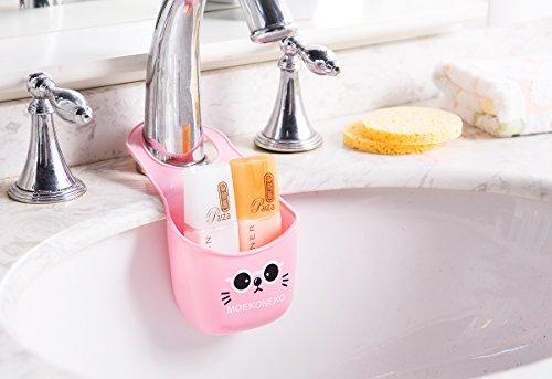 Vi.yo Mignon Chat Éponge Boîte De Rangement Cuisine Évier Suspendu Passoire Toilette Toilette Savon Étagère Organisateur (Rose)