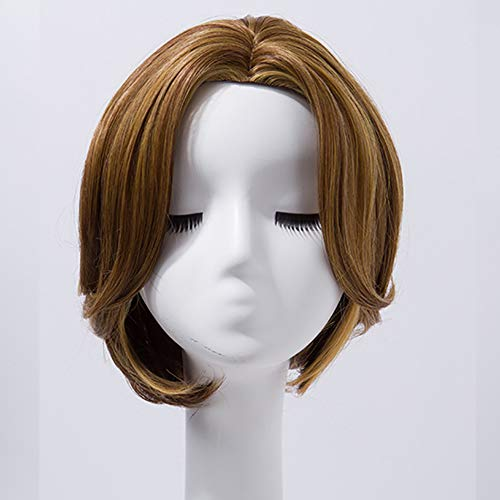 Wig Women Short Straight Hair Oblique Bangs Buckle Bobo Head Natural Realistic Wig Set Wig Cosplay Costume Party Masquerade Ball,Brass