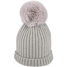 Mitlfuny Niños Niñas Sombreros de bebé Unisex Desmontable Bola de Pelo  Grande Gorro de Punto Invierno 5394e06b946