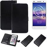 K-S-Trade Wallet Case Handyhülle für Alcatel U5 HD Dual SIM Schutz Hülle Smartphone Flip Cover Flipstyle Tasche Schutzhülle Flipcover Slim Bumper schwarz, 1x