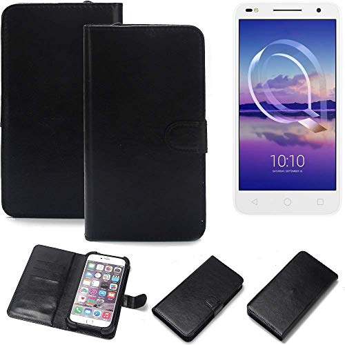 K-S-Trade® Wallet Case Handyhülle Für Alcatel U5 HD Dual SIM Schutz Hülle Smartphone Flip Cover Flipstyle Tasche Schutzhülle Flipcover Slim Bumper Schwarz, 1x