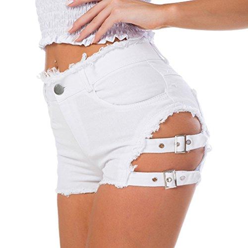Yuanu Damen Sexy Nachtclub Abend Distressed Ultra-Shorts Sommer Hohe Taille Knöpfe Reißverschluss Jeans Hotpants Mit Taschen Weiß L -
