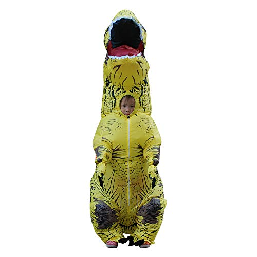 WJHCE Jurassic Aufblasbare T-Rex Kostüm Funny Weihnachten Cosplay für Erwachsene,Yellow,Kids (Große T Rex Kostüm)