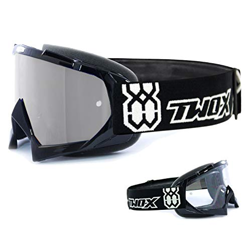 TWO-X Race Crossbrille schwarz Glas verspiegelt Silber MX Brille Motocross Enduro Spiegelglas Motorradbrille Anti Scratch MX Schutzbrille
