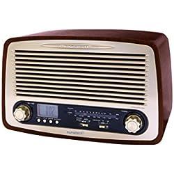 Sunstech RPR4000WD - Radio de sobremesa (3 W RMS, AM/FM, USB), diseño retro de madera
