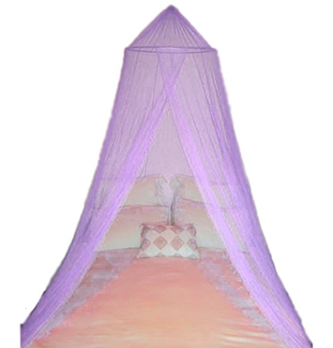 A-Express Moskitonetz Baldachin Mückennetz Betthimmel mit einem Eingang romantischer Schutz vor Insekten Schlafzimmer Fliegennetz 2.5m Höhe x 10m Rund - Lila