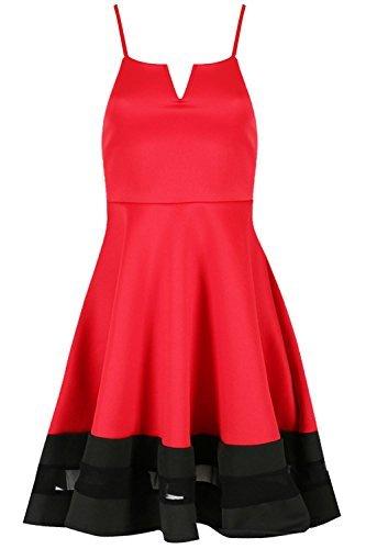 Be Jealous femmes CARACO Insert maille Contraste col V à lanières SWING Skater robe grande taille UK 8-26 Rouge/noir