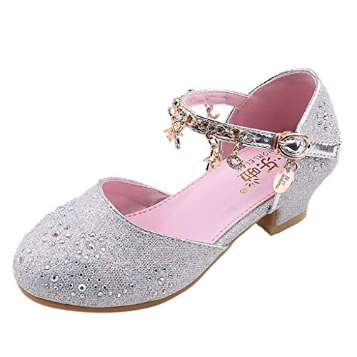 JiaMeng Kleinkind Baby Kinder Mädchen Latin Tango Tanzschuhe Tanzschuhe, Übungsschuhe, Prinzessin Schuhe, kleine Schuhe, einzelne Schuhe (34, A Sillber)