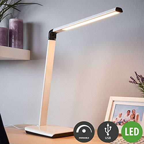 LINDBY LED Tischlampe 'Kuno'mit USB Anschluss dimmbar (Modern) in Weiß u.a. für Arbeitszimmer & Büro (1 flammig, A+, inkl. Leuchtmittel) - Tischleuchte, Schreibtischlampe