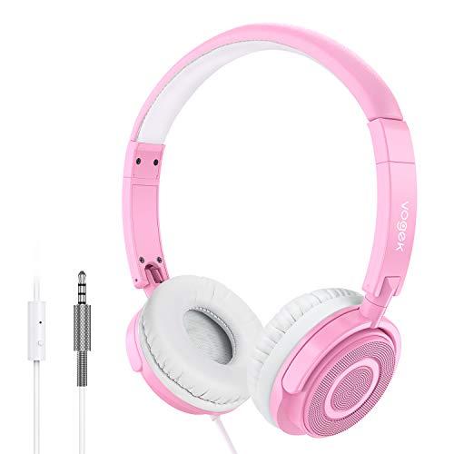 Kopfhörer auf Ohr, VOGEK Faltbare kabelgebundene on Ear Kopfhörer mit Verbessertem Bass und Stereo Sound, Headsets für TV, Handy, Laptop and andere Geräten (Pink)