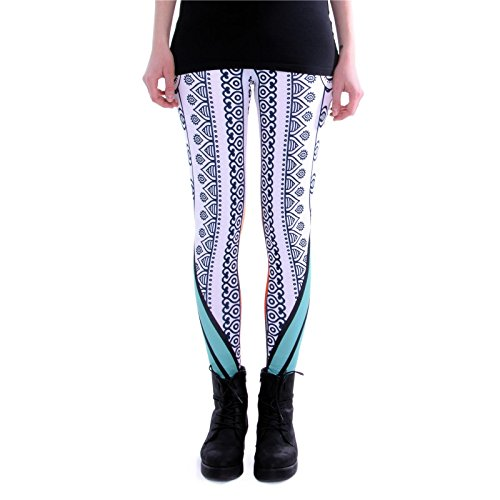 cosey - Bedruckte Bunte Leggins (Einheitsgröße) - Leggings Design Mandala Stripes