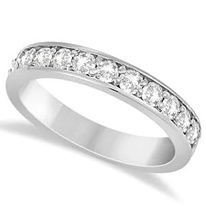 Allurez Semi Eternity Moissanite Wedding Ring Band 14K White Gold 0.65ctw - F