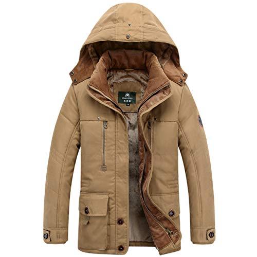 Herren Draussen Gefüttert Baumwolle Kapuzen Zipeer Warm Verdicken Winter Baumwolle Jacke Mantel(XL,braun)