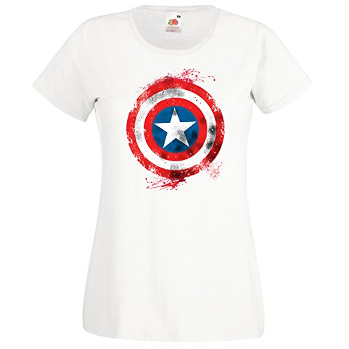 TRVPPY Damen T-Shirt Modell Captain America Brushed Farbe Weiß Größe L